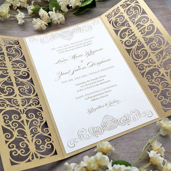 LISA - Ivory and Gold Laser Cut Wedding Invitation - Metallic Gold Laser Cut Gatefold invite with Ivory Insert and Belly Band