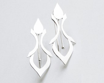 Handmade Silver Earrings in a Fleur De Lys Style