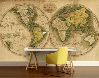 world map wallpaper old map wall mural vintage old map mural self