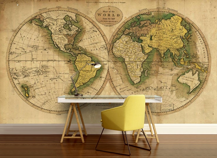 World map wallpaper old map wall mural vintage old map request a custom order and have something made just for you gumiabroncs Choice Image