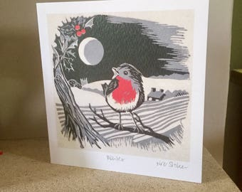 Winter - artist card from original linocut print