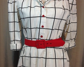 Black and White Shirtwaist Dress with Red Belt and Buttons by Stuart Allan Petites, Ladies Size 14 Made in USA Previously 32 Dollars ON SALE