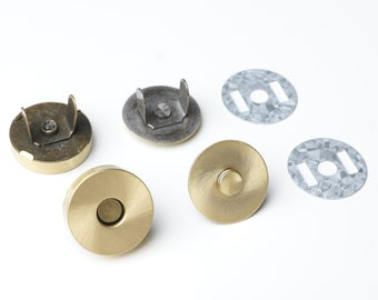 18mm Magnetic Purse Snaps - Brushed Brass - 20 Sets