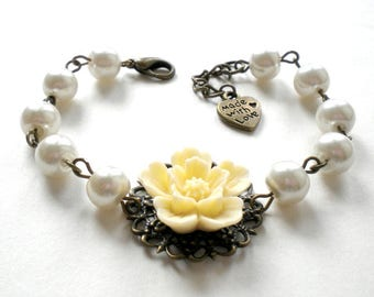 Bridal Party Gifts Ivory Bridesmaid Bracelet Will You Be My Maid Of Honor Gift Bridal Shower Jewelry Ivory Flower Bracelet Wedding Jewelry