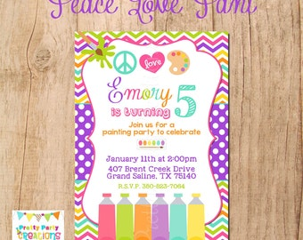 PEACE, LOVE, PAINT invitation - You Print - Original design by Pretty Party Creations only