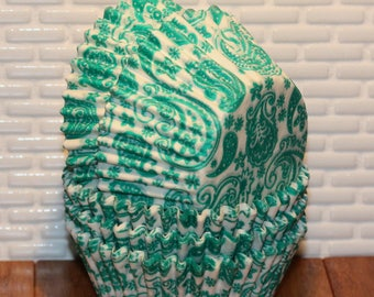 Green Paisley Cupcake Liners (Qty 45)  Green Paisley Baking Cups, Green Cupcake Liners, Green Baking Cups, Green Muffin Cups, Baking Cups