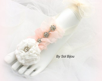 Barefoot Sandals, Blush, Pink, Ivory, Bridal, Wedding, Bridesmaids, Foot Jewelry, Lace Up, Flats, Crystals, Chiffon, Floral, Garden, Beach