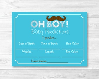 Cute Mustache Baby Predictions Game / Mustache Baby Shower / Little Man Baby Shower / Oh Boy Baby Shower / Printable INSTANT DOWNLOAD A264