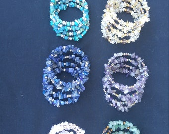 Stacked-Look Memory-Wire Coil Bracelets,