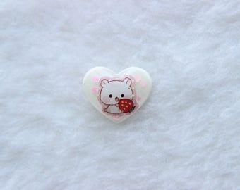 Heart-Shaped Hamster Strawberry Pin