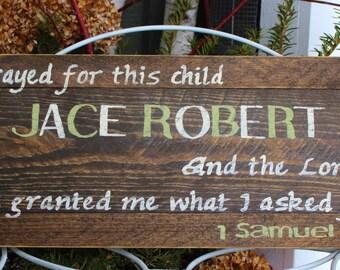 Religious nursery etsy personalized custom rustic wood hand painted bible verse with babys name nursery decor custom negle Choice Image
