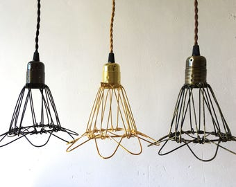 Wire lampshade etsy vintage industrial metal wire cage hanging lamp shade pendant light chandelier greentooth Gallery