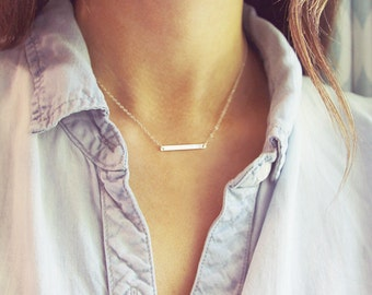 Silver Bar Necklace | Sterling Silver Bar Necklace | Simple Dainty Silver Jewelry