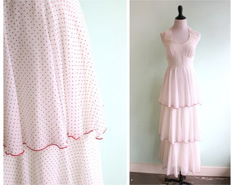 Vintage 1970's Tiered Polka Dot Gown | Size Extra Small