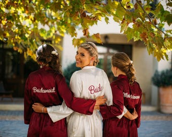 Burgundy Embroidered Bridesmaid Robe Sets Burgundy Kimono Robe Dressing Gowns Burgundy Robes Burgundy Satin Robe Embroidered Wedding Robes