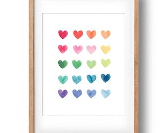 Watercolour Hearts, Rainbow Art Print, Custom Art, Gift for Girls, Housewarming Gift, Printable Art, Nursery wall decor: INSTANT DOWNLOAD