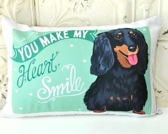 Dachshund Dog Pillow- You Make My Heart Smile