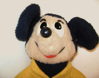 Vintage Mickey Mouse, Knickerbocker, Plush, 1976, Walt Disney, Cartoon Character, Yellow, Magic Kingdom, Old Style Stuffed Toy Lovey