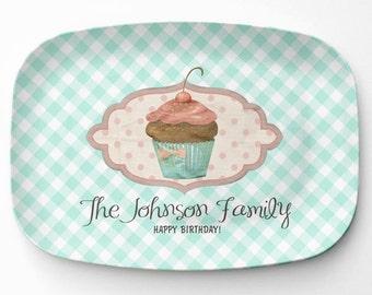 Melamine Cupcake Platter, Personalized Birthday Serving Platter, Melamine Platter, Personalized Serving Tray, Cupcake Decor