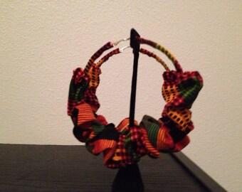 Ghanaian kente hoop earrings
