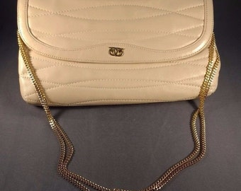 Vintage 70s Genuine Leather Morris Moskowitz Quilted Clutch Purse chain strap