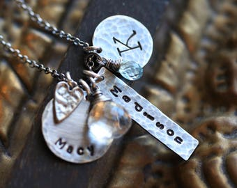 Mother's Necklace, Personalized Mothers Necklace, Rustic Personalized Mom Necklace, Personalized Family Necklace with Heart, Three Names