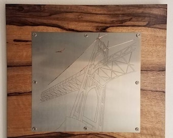 St Johns bridge illustration in stainless steel and copper on wood, wall hanging, Portland Oregon,PDX