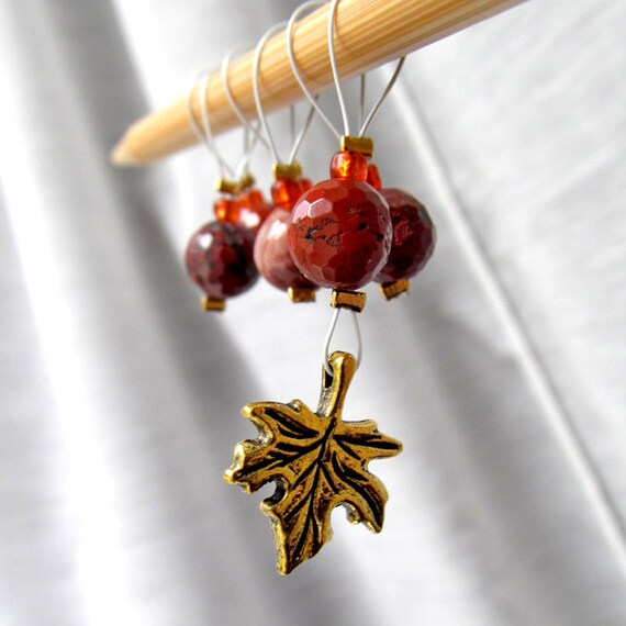 SALE - Autumn Burned Brightly - 6 Snag Free Stitch Markers for Knitting - Fits Up To 5.5 mm (9 US) - Last Sets