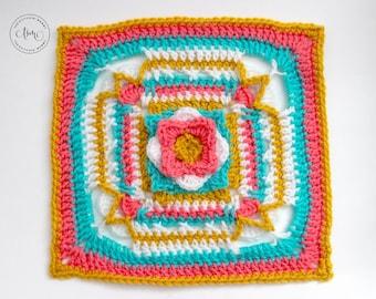 PDF Crochet Pattern - Shells Aflutter 12 Inch Afghan Square