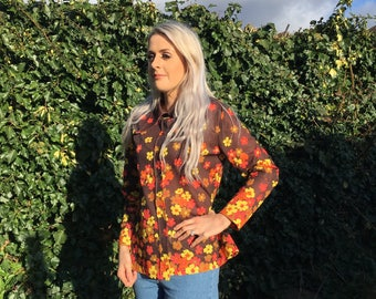 Vintage St Michael Blouse- Brown, Orange and Yellow Floral- Dagger Collar- 1970's