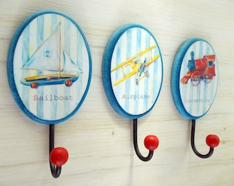 Decorative wall hook for nursery  Decorative hanger  Set of three hangers  Sailboat  Airplane  Locomotive  Red  Blue