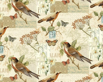 Bird Fabric:David Textiles Oak Avenue Scenic Birds & Butterfly  Premium 100% Cotton Fabric by the yard (DA82)