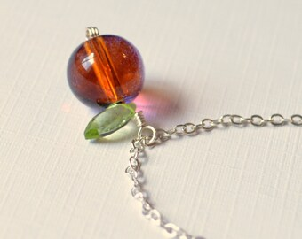 Pumpkin Necklace, Halloween Jewelry, Orange and Purple Glass Pendant, Silver Plated Chain, Genuine Peridot Gemstone Leaf