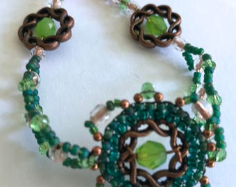 Handcrafted beaded bracelet green coppercraft seed beads