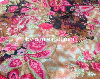 """silk fabric, crinkle georgette pure silk fabric, floral print, golden delineated, scarf fabric, one yard by 55"""" wide"""