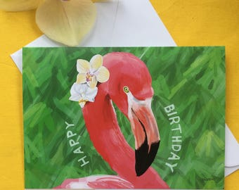 Birthday card - flamingo with orchids