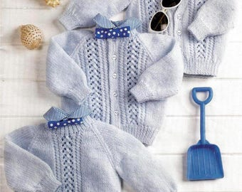 PDF, Instant Download,Baby  Sweater and  Cardigans, Knitting Pattern 18 - 24 Inch Chest, DK Wool