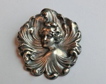 Art Nouveau Brooch Repousse Pretty Woman Scalloped Wave Designs Romantic Nouveau