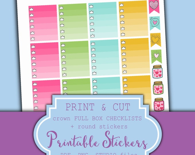 Planner Full Box Stickers Printable - Erin Condren Planner Stickers - Crown Checklist Stickers - Ombre full box stickers | Printable Planner