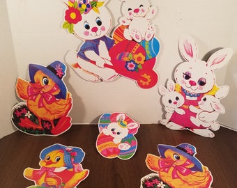 Vintage Easter Die Cuts // Set of 6 // Spring Decor // Easter Bunny // Holiday Banner // Easter Decor