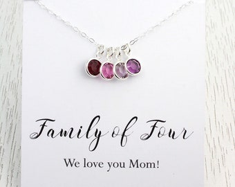 New! Mother's Day Gift, Family of Four Crystal Birthstone Necklace for Mom, Rose Gold, Gold or Silver, Message Card Choice