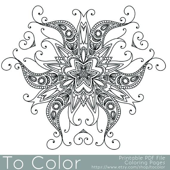Artículos similares a Intrincados dibujos para colorear para ...