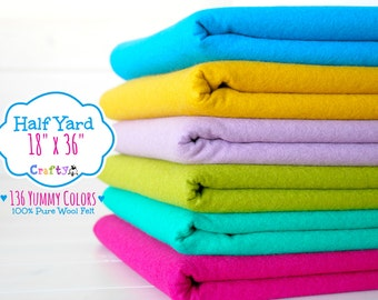 """1/2 Yard of Merino Wool Felt - 18"""" X 36"""" - 100% Wool Felt by the Yard - You Choose your Color - Large Felt Sheet - Wool Felt by the yard"""
