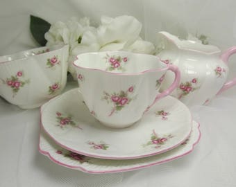 Shelley Bridal Rose Teacup, Saucer, Plate  PLUS  Sugar & Creamer Unused