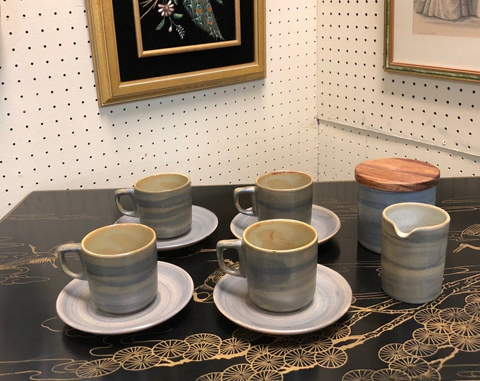 Mid Century Signed Ambacht Volendam, Dutch Ceramic Blue Glaze Coffee / Tea Service, 13-Piece Set