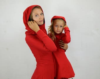 Hoodie dress, hooded dress, kids fashion, girl dress, balloon dress, dress in red, red hood dress, winter dress, cotton dress