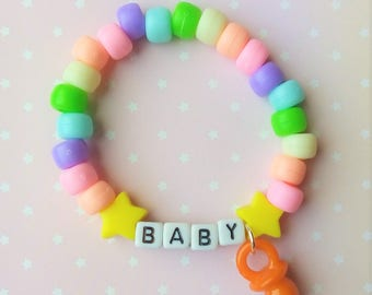 Pastel Rainbow Star Baby Little Paci Singular Kandi Bracelet - Kawaii Lolita Decora Fairy Kei Pastel Goth Harajuku Fashion Cute JFashion