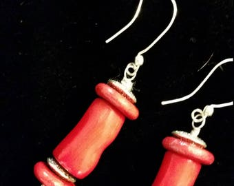 Hand Made Natural Red Coral Drop Earrings