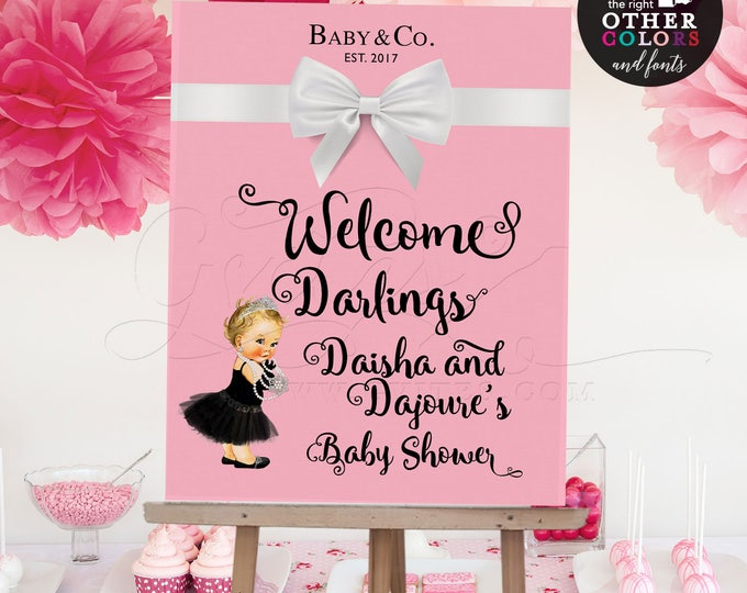 Baby and Co Baby Shower Welcome Sign Baby and Co Poster Entrance Decorations, DIGITAL FILE Only! DIY, Printable, Pink and White Bow.