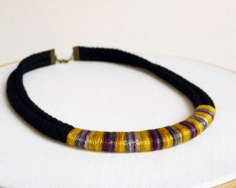 50% Off Rope Necklace in Ombre Mustard Yellow Cotton Thread and Black Rope